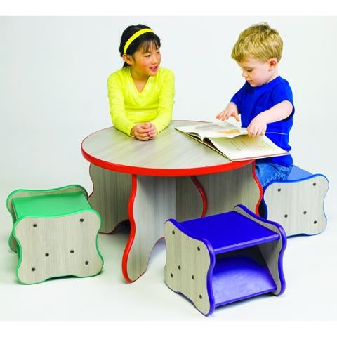 Children's Wavy Legs Table & 4 stools