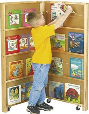 KIDS MOBILE LIBRARY BOOKCASE - 2 SECTIONS FOR WAITING ROOMS