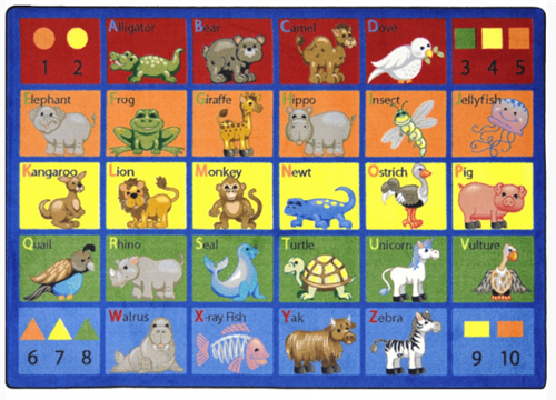Animal Phonics Kids Play Area Carpet