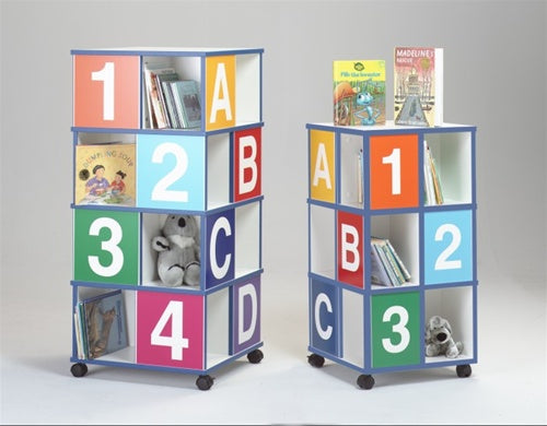 GRESSCO Mobile 4 Tier ABCD/1234 Book Caddy w/4 Casters-Made in USA