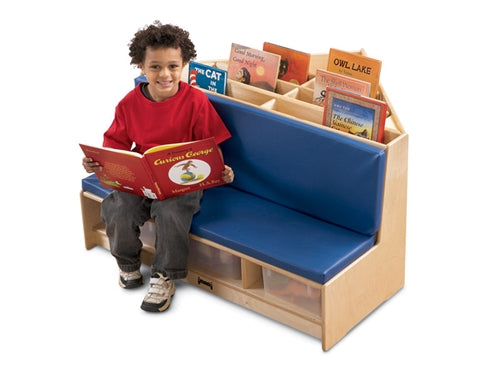 Corner Book Browser-Corner Literacy Nook w/Tubs-Red or Blue