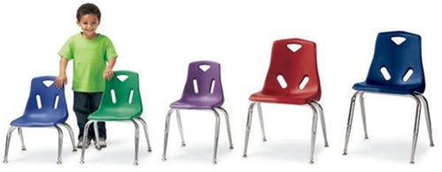 KIDS BERRIES PLASTIC CHAIRS w/CHROME-PLATED LEGS Set of 6 Chairs