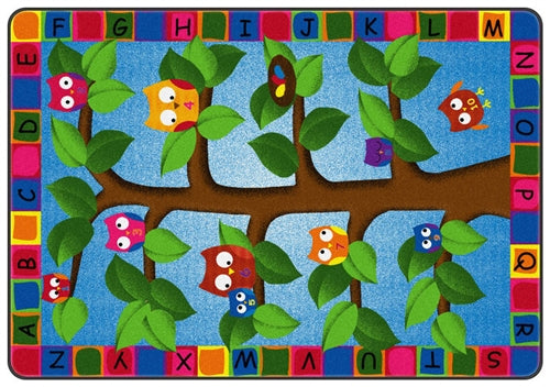 Alphabet Owls Kids Educational Area Rug -Made in USA