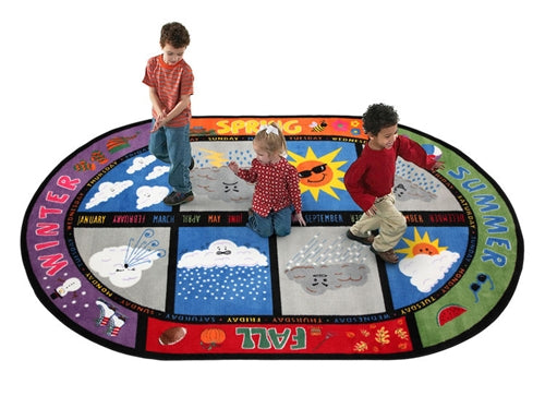Flagship Kids Carpets-Weather Today Kids Educational Oval Rug