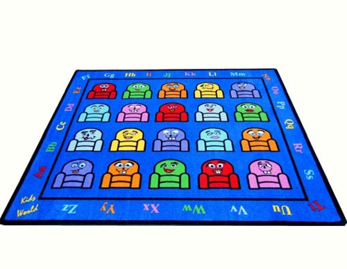 Kids World Carpets-Silly Seats (16 or 20 Seats) Children's Educational Rug