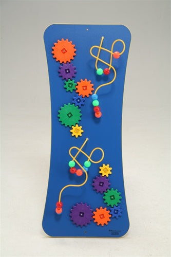 Blue Loco-Motion Wall Panel Toy-Wires, Beads, and Gears, Made in USA