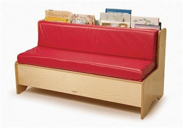 Single Reading Kids Couch w/Storage-Red for Waiting Rooms-Made in USA