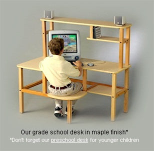 Grade School Kids Wooden Computer Desk w/Optional Hutch