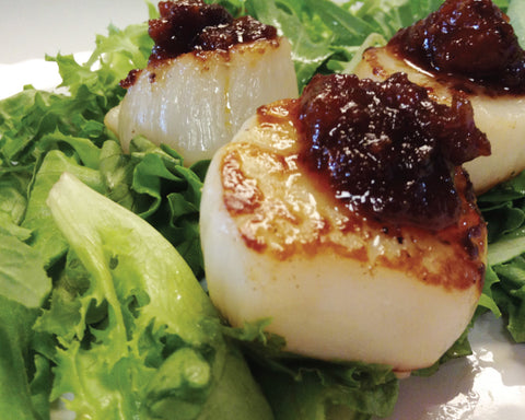 seared scallops with Bacon Jam