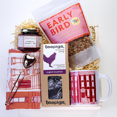 Tea For Two Mother's Day Gift Set. Early Bird granola, Claudia Pearson tea towel, brownstomes mug, Anarchy in a Jar jam