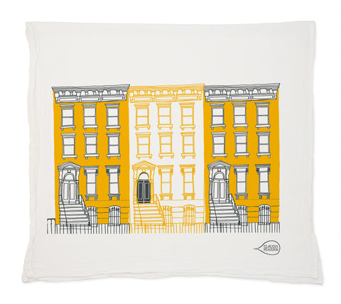 Yellow Brownstones Tea Towel