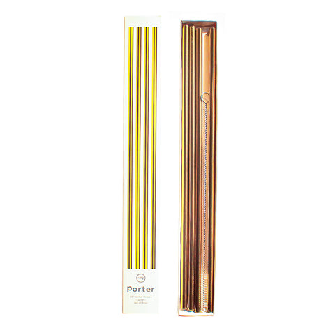 W&P Porter 10in Metal Straws, Set of 4 with Cleaner