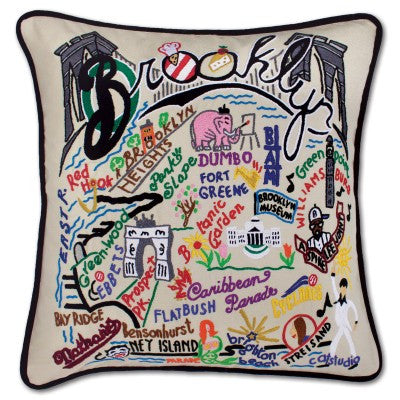 Hand-Embroidered Brooklyn Pillow