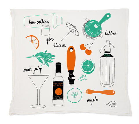Claudia Pearson Cocktail Tea Towel