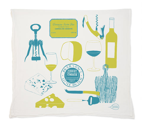 Claudia Pearson Wine & Cheese Tea Towel