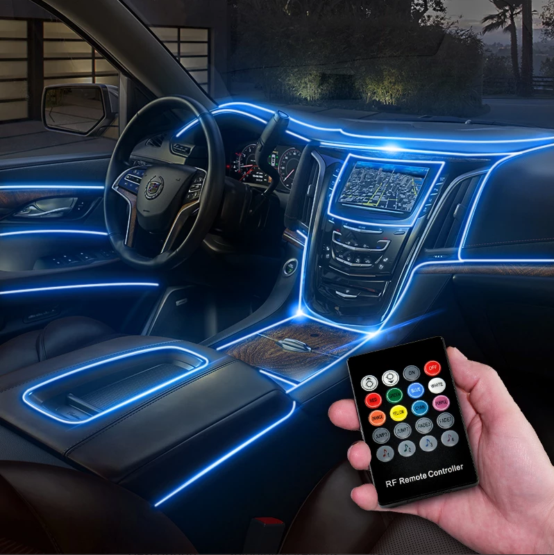 CarFitg™ Fiber Optic Multicolor LED Car Interior Ambient Light Kit 5-piece set