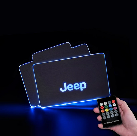 CarFitg™  JEEP Acrylic LED Foot Mats | Car logo illuminating mat
