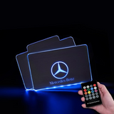 CarFitg™  Mercedes-Benz Acrylic LED Foot Mats | Car logo illuminating mat