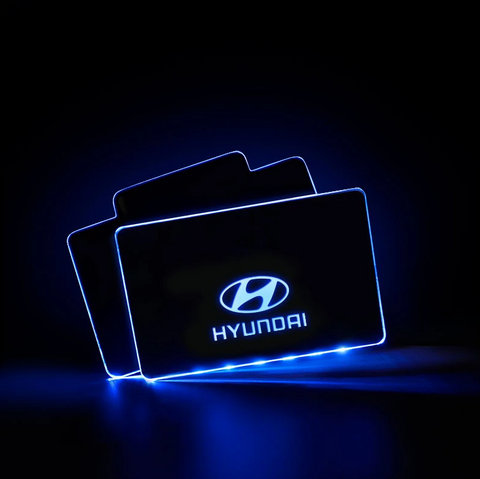 CarFitg™  HYUNDAI Acrylic LED Foot Mats | Car Logo Illuminating Mats