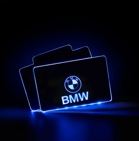 CarFitg™  BMW Acrylic LED Foot Mats | Car Logo Illuminating Mats