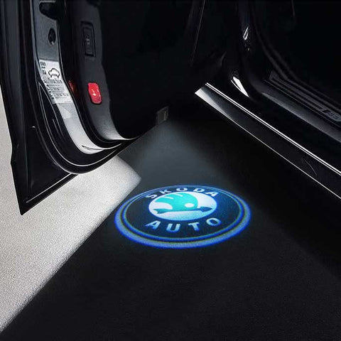 CarFitg Wireless Led Car Door Projector Puddle Logo Light - SKODA