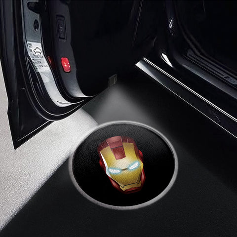 CarFitg Wireless LED Car Door Projector Puddle Logo Light - Iron Man