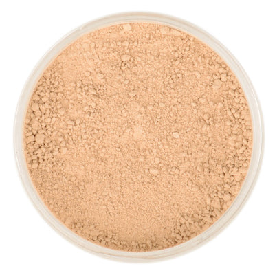 Natural Mineral Makeup in shade Golden Medium. Loose Foundation Setting Powder, Vegan Cruelty Free Healthy Cosmetics