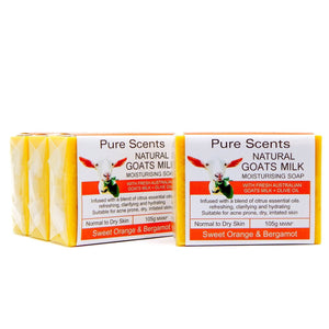 Goat Milk Soap - Sweet Orange & Bergamot Value Pack 4 x 110g - Pure Scents