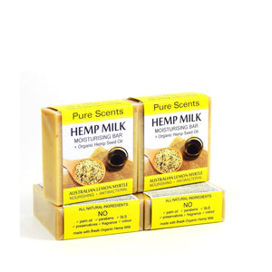 Hemp Milk Soap Bars - Lemon Myrtle Value Pack 4 x 110g - Pure Scents