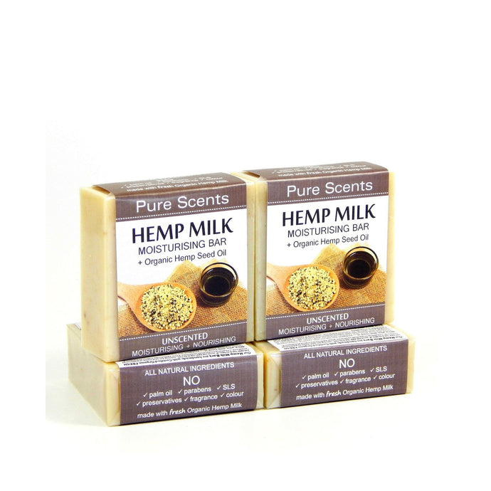 Hemp Milk Soap Bars - Unscented Value Pack 4 x 110g - Pure Scents