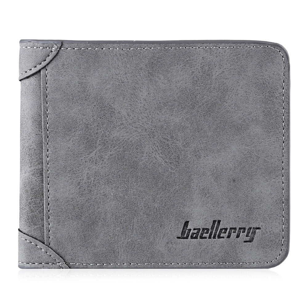 Solid Color Letter Embellishment Dull Polish Open Vertical Wallet for Men