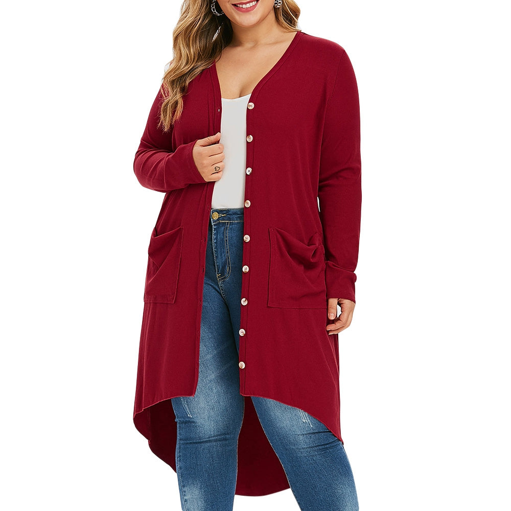 Plus Size Ribbed High Low Long Cardigan
