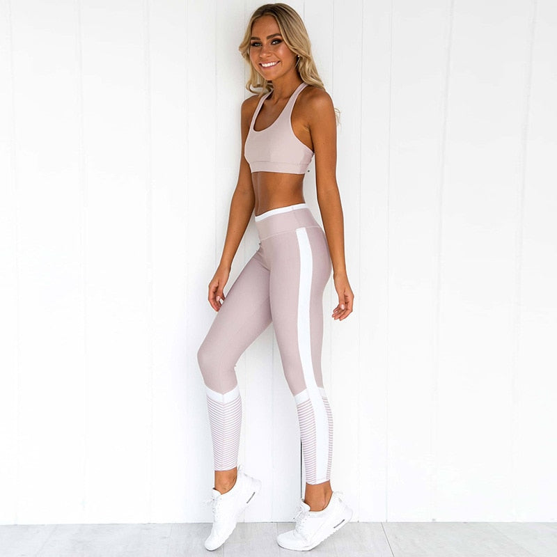 Stripe Printed Patchwork Fitness Suit Sets Women Sexy Back Hollow Out Top Sporting Leggings Set Tracksuits