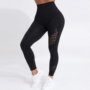 Seamless High Waist Yoga Leggings Tights Women Workout Mesh Breathable Fitness Clothing Training Pants Female