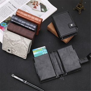 Credit Card Holder Men and Women Aluminum Alloy Card Case PU Leather Fashion Card Wallets ID Card Holder Purse