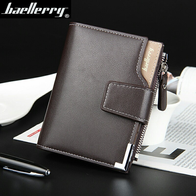 Wallet Baellerry brand Short men Wallets PU Leather male Purse Card Holder Wallet Fashion man Zipper Wallet men Coin bag