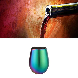 Wine Drinking Glasses Multicolor Iridescent Rainbow Stemless Household 304 Stainless Steel Single Layer Color Plated Big Belly E