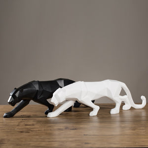 4 Color Geometric Black&White Leopard Statue Modern Abstract Resin Animal Panther Figurine Home Decoration Ornaments Sculpture