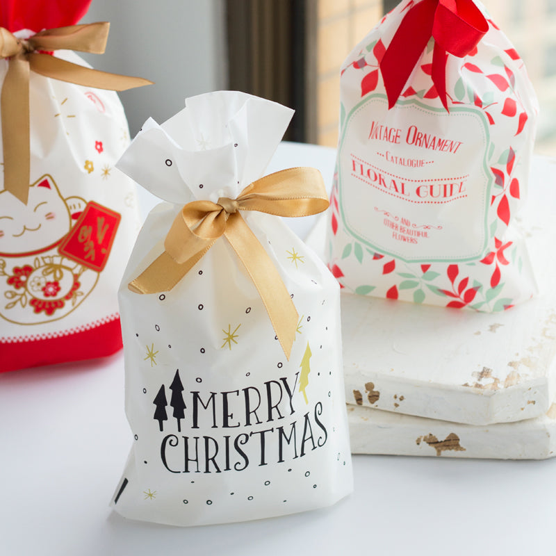 10pcs Golden Christmas Tree Gift Bags