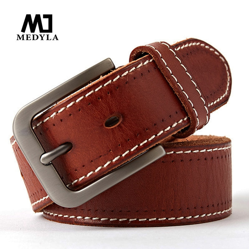 MEDYLA original leather men's belt retro casual design jeans belt for men's brand designer belt high metal pin buckle Dropship