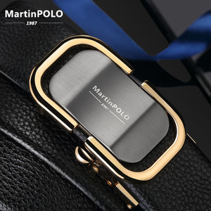 MartinPOLO New Arrival men's leather belt luxury Automatic Buckle Belts For Men Black men belt genuine leather MP0301P