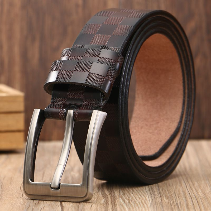 Men's Classic Lattice Belt Genuine Leather