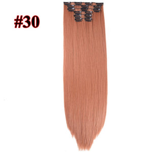 Leeons 16 colors 16 clips Long Straight Synthetic Hair Extensions Clips in High Temperature Fiber Black Brown Hairpiece