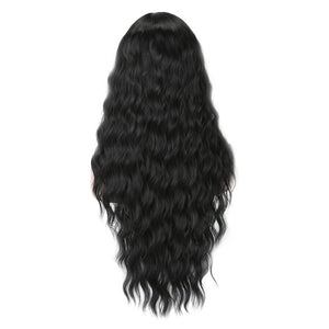 LISI HAIR Pure Red Black Color Long Water Wave Hairstyle Wigs For Women Synthetic Hair High Temperature Fiber Average Size