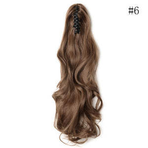 SNOILITE Synthetic Claw on Ponytail hair extension fake ponytail hairpiece for women black brown tail hair extension hair