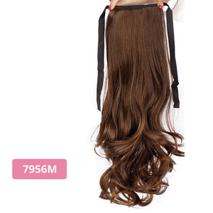 AISI BEAUTY Silky Straight Synthetic Clip in Drawstring Ponytail Hairpieces for Women Hair Extension High Temperature Fiber