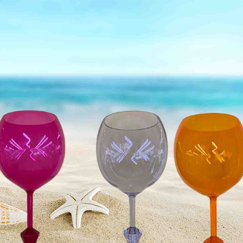 The Beatiful Beach Glass Original Floating Glass Acrylic Cup Shatterproof Wine Beer Cocktail Drinking Glasses for Outdoor Pool
