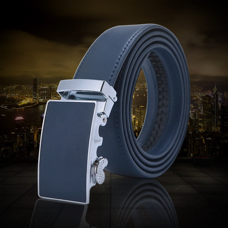 Mens High Quality Genuine Leather Belt-Ratchet Automatic Buckle Men Belt Popular Business Blue Luxury Mens Belts 3.0 cm Width