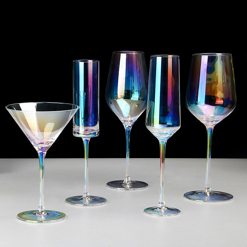 Rainbow Plating Goblet Wine Glass Crystal Cocktail Glasses Champagne Flute Brandy Glass Drinking Cup Stemless Egg Party Supplies