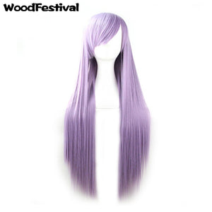 WoodFestival Women 80/100 cm Long Straight Synthetic Wig Pink Red Blue Black White Purple Green Brown Cosplay Wigs with bangs